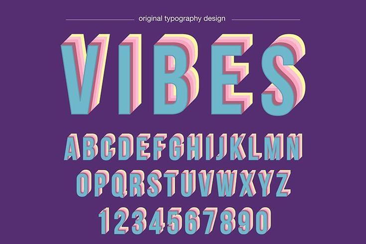 Tipografía elevada colorida vintage vector