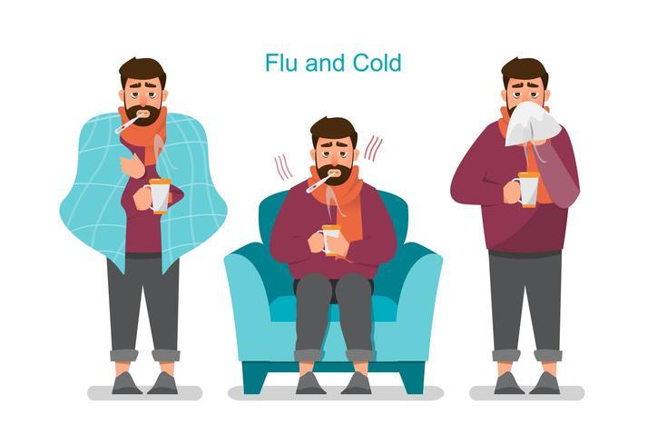 Uppsättning av sjuka människor som känner sig illa, har förkylning, influensa och feber