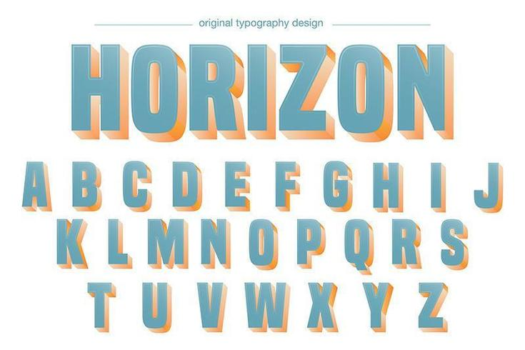Light Blue Bold Shadow Alphabet Typography vector
