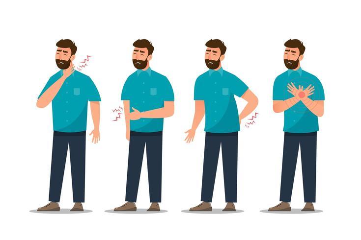 set van zieke man buikpijn, hart-en vaatziekten, rugpijn, nekpijn, hoest en gastritis vector