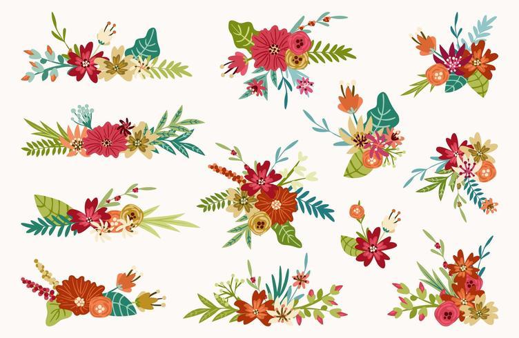 Bouquets de printemps, arrangements floraux vecteur