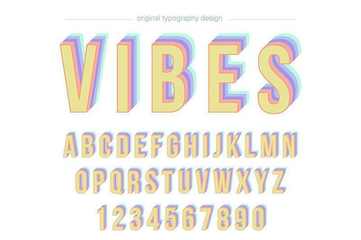 Tipografía colorida vintage disco