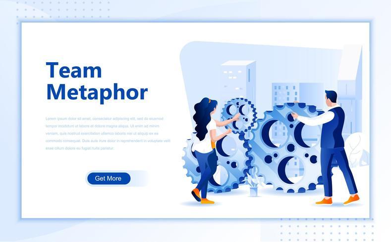 Diseño de página web plana de metáfora de equipo vector