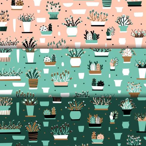 Flowerpot pink and teal seamless pattern