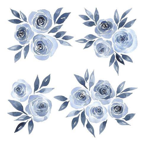 Roses aquarelles bleues vecteur