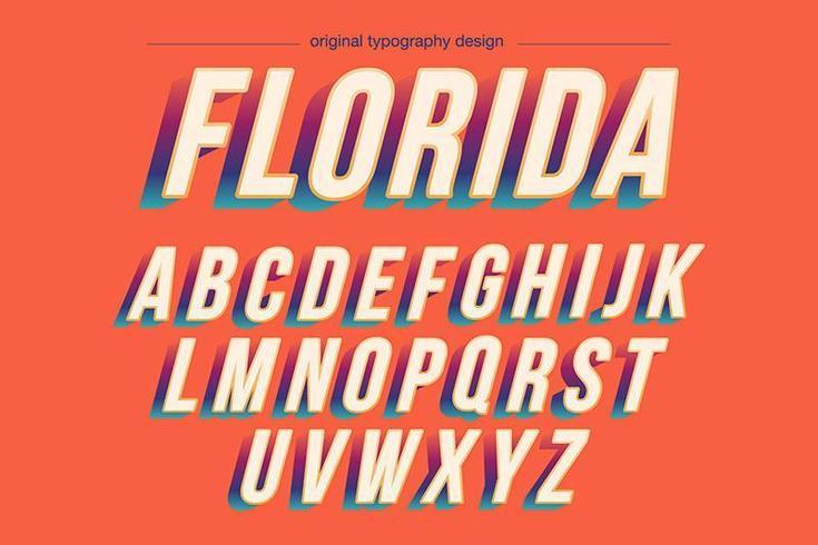 Tipografia sollevata grassetto colorato vintage