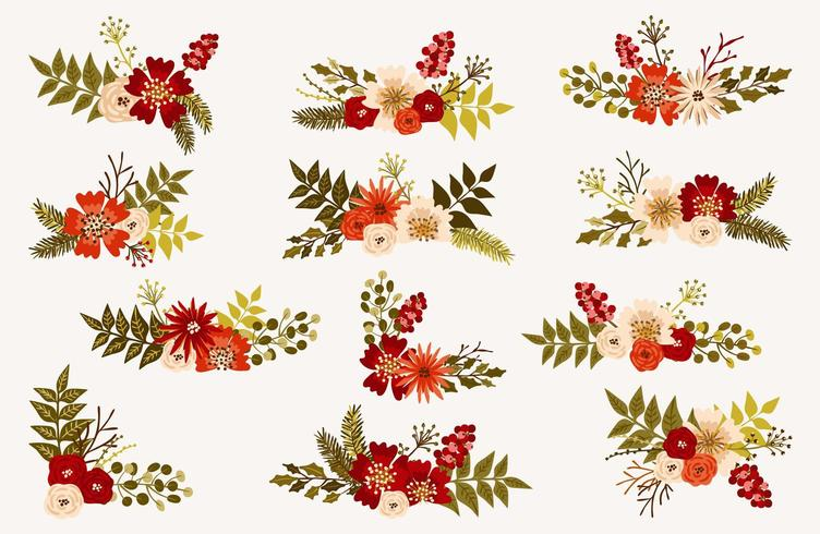 Christmas and winter floral bouquets vector