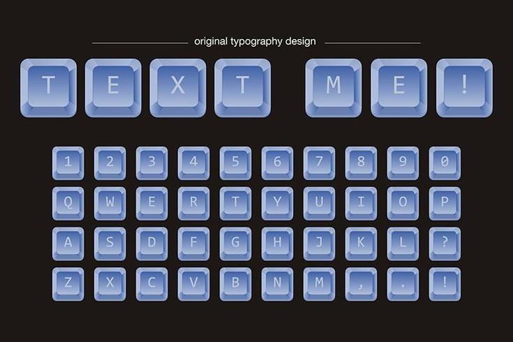 Tipografía de teclas de teclado azul vector