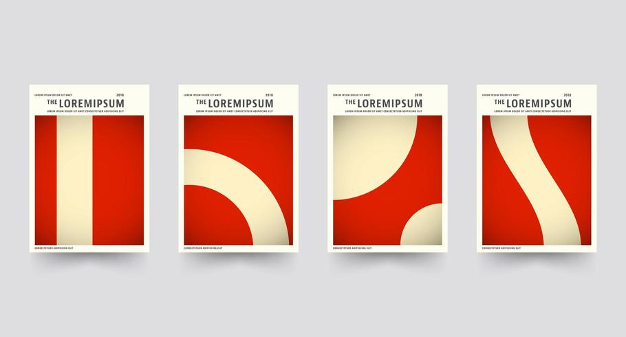 Red Brochure cover template set vector