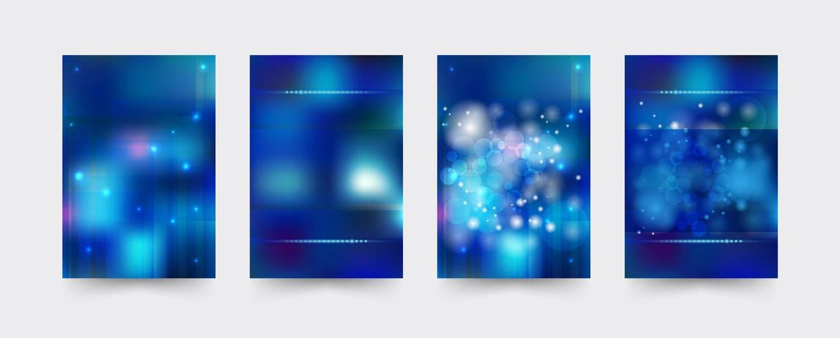 Conjunto de plantillas de portada de folleto azul vector