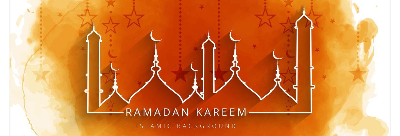 Ramadan kareem banner colorido fondo naranja vector