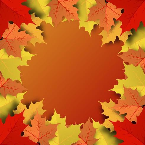 Colorful autumn maple leaf round frame background
