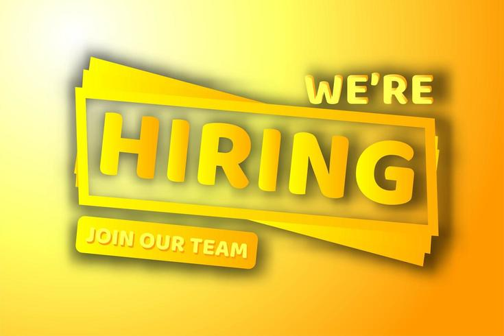 We're Hiring Yellow Orange 3 Dimensional Sign  vector