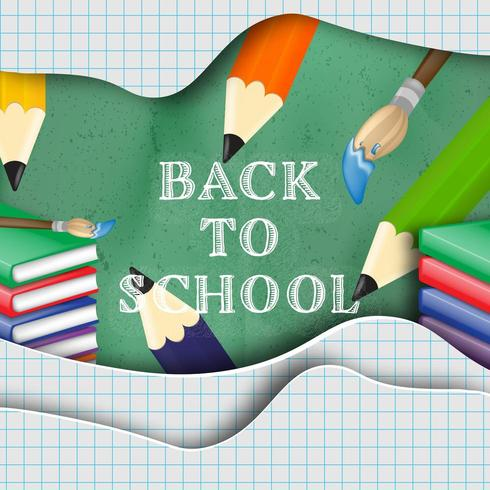 Back to school message on layered cut paper design vector
