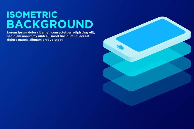 Isometrischer blauer Hintergrund des intelligenten Telefons vektor