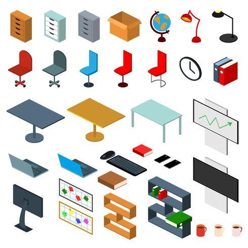 Ilustración isométrica de muebles y accesorios de oficina