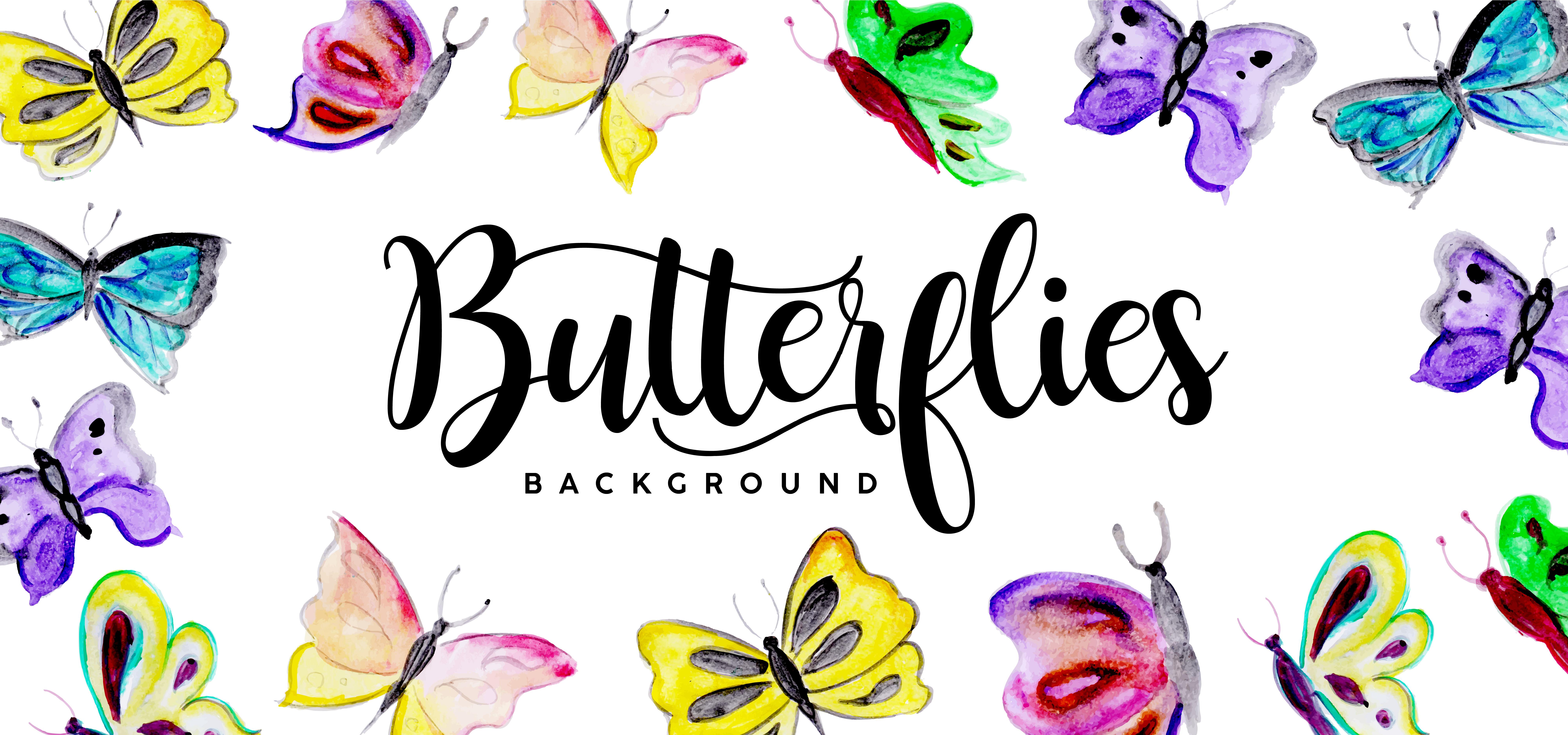 Beautiful Watercolor Butterflies Background - Download ...