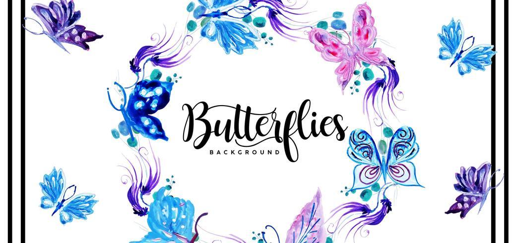 Beautiful Watercolor Butterflies Background