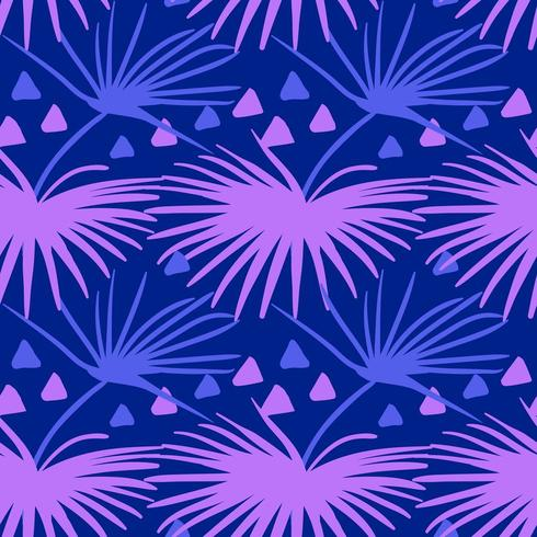 Seamless tropical pattern. Summer exotic plants ornament vector