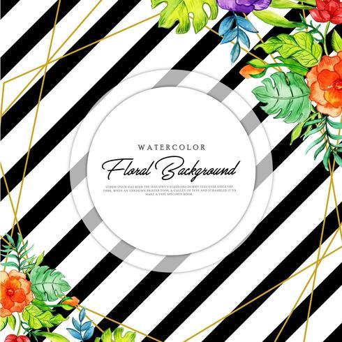 Floral Black Stripe Background