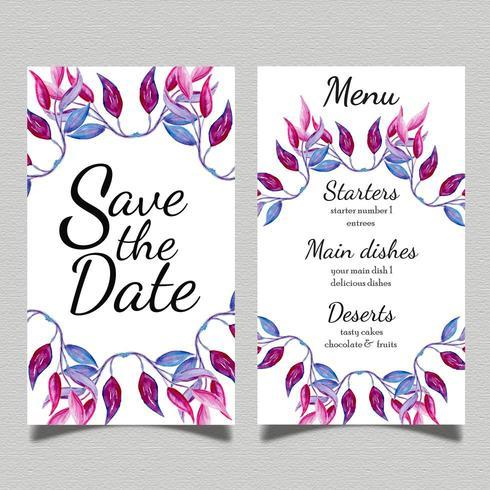 Scheda del menu di nozze dell'acquerello