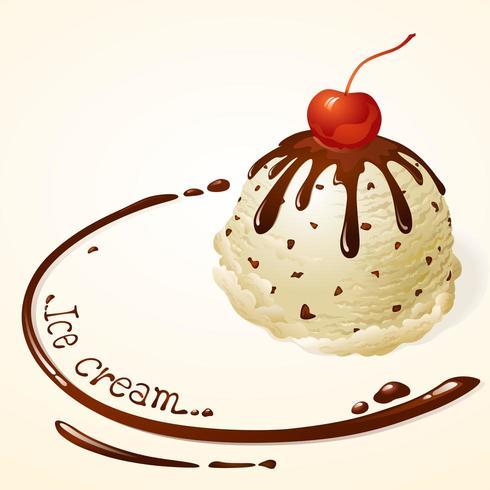 Gelato alla vaniglia con salsa al cioccolato vettore