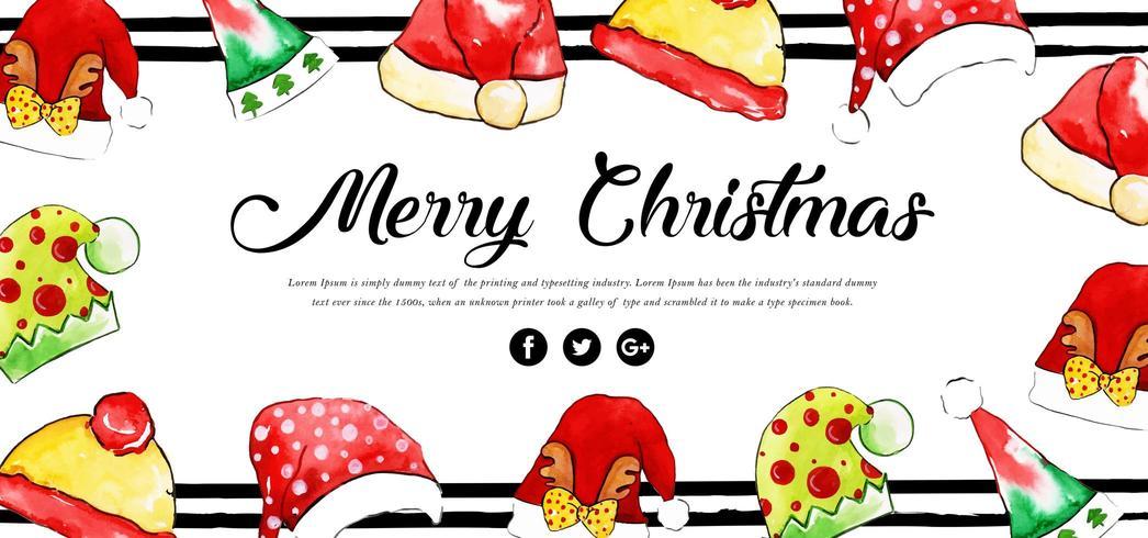 Banner floreale di buon Natale dell'acquerello