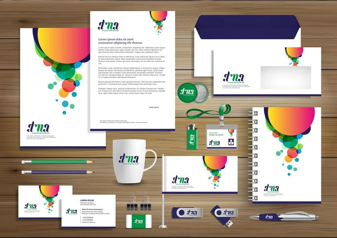 Mall för design för företagsidentitet med bubblor vektor