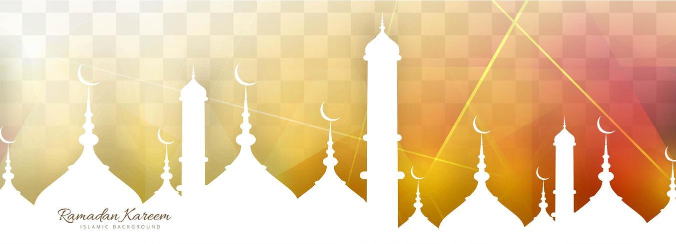 Plantilla de atardecer de banner de Ramadán kareem vector