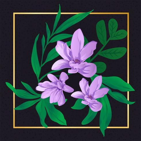 Hermosa Flor Púrpura Floral Vintage vector
