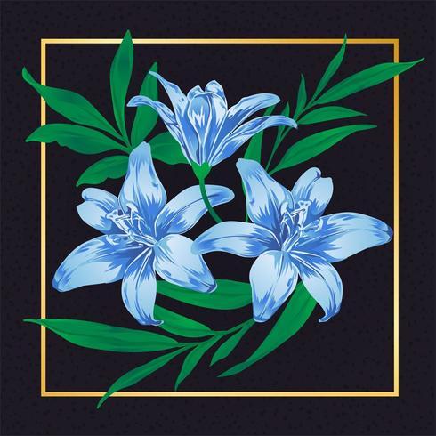 Flor Azul Vintage Vector Hoja Naturaleza