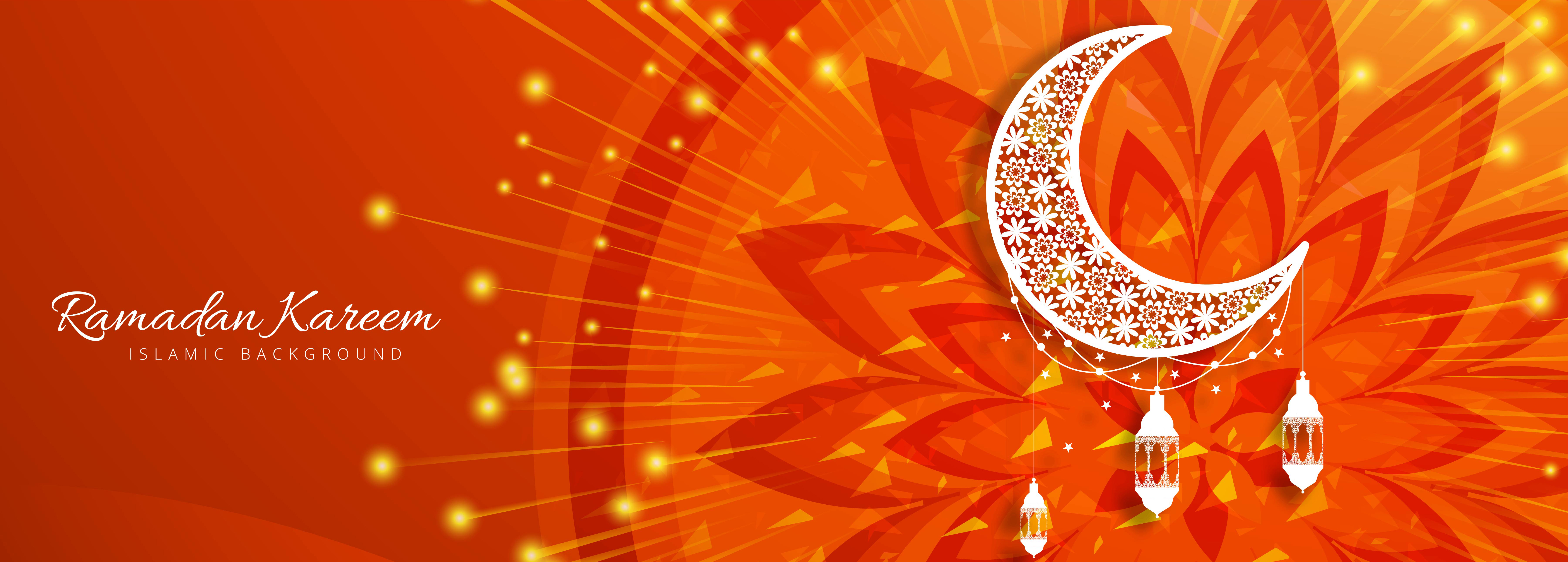 Ramadan Kareem Banner Red Orange 677349 Vector Art At Vecteezy