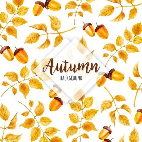 Bolota de outono padrão com folhas