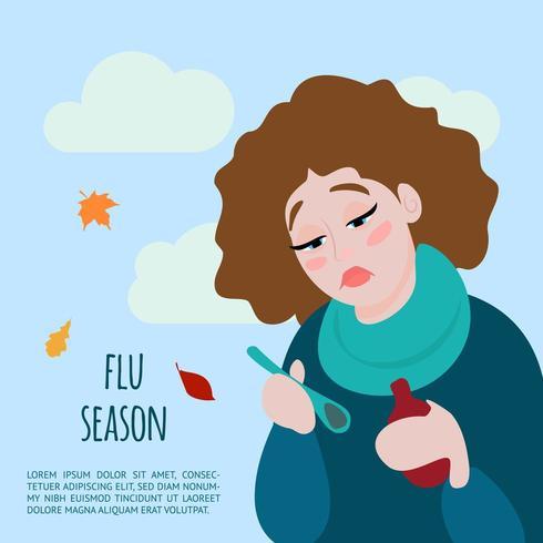 Ilustración plana de gripe y resfriado. vector