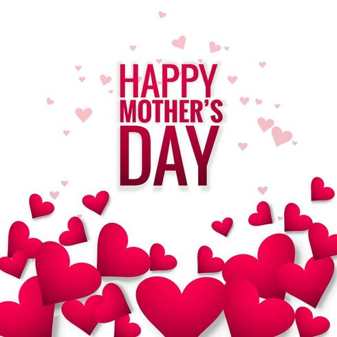 Happy mother's day card beautiful love heart background vector