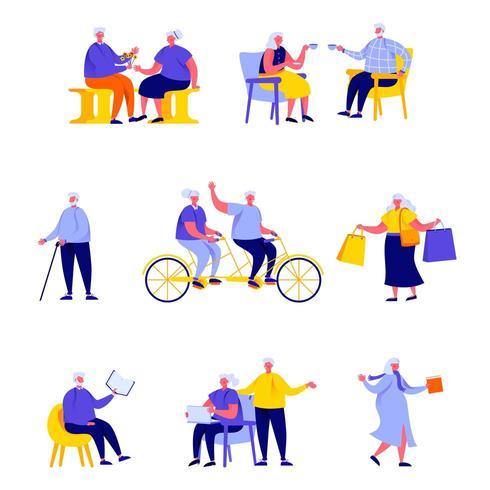 Conjunto de pessoas idosas planas e casais realizando atividades diárias