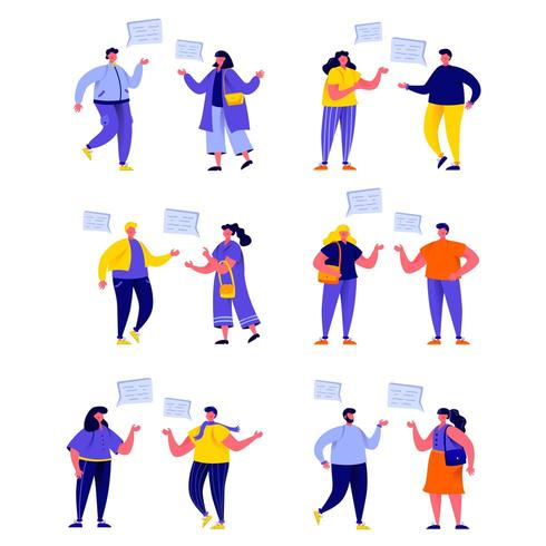 Set of flat people talking to each other with speech balloons