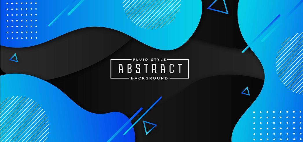 Fondo fluido abstracto azul y negro vector