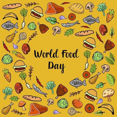 Día Mundial de la Alimentación con Verduras Colorfull