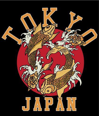 Hand gezeichnete japanische koi Fische für T-Shirt Druck