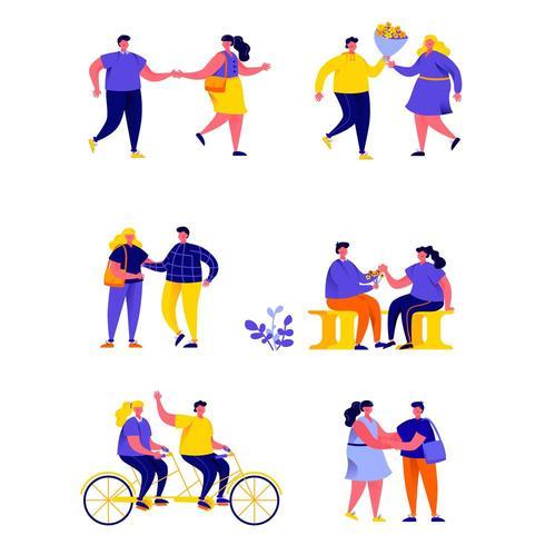 Set di coppie romantiche felici piatte