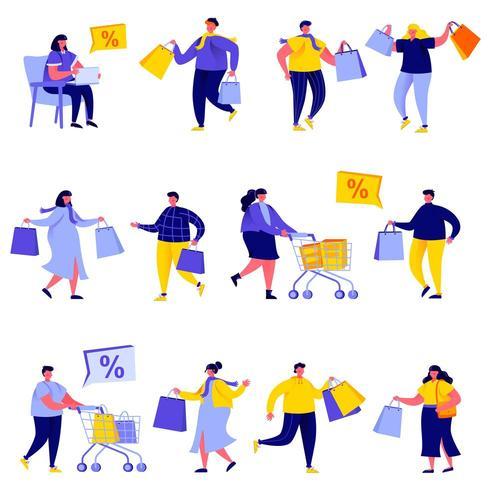 Insieme di persone piatte shopping con borsa e carrelli