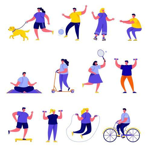 Conjunto de personas planas que practican deportes y se mantienen activas vector