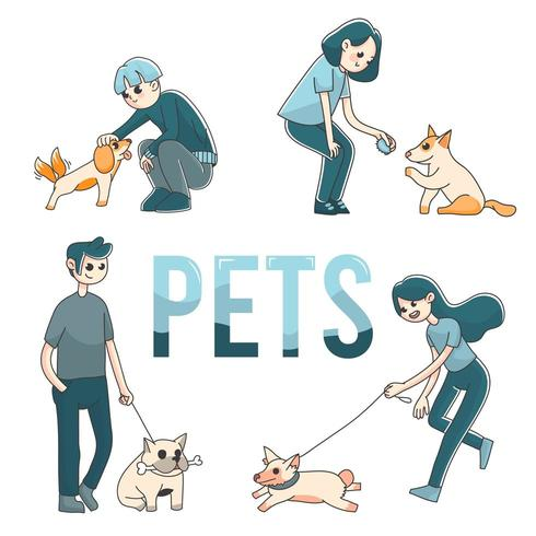 4 people with pet dogs cute illustration