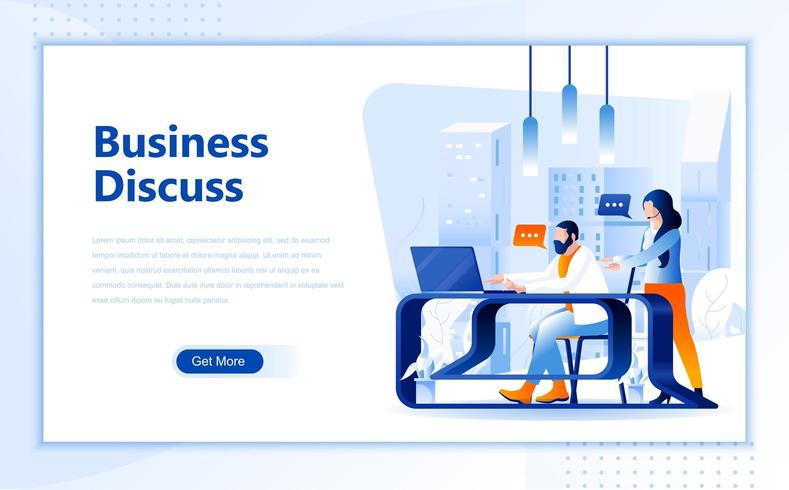 Business discussion flat  web landing page template  vector