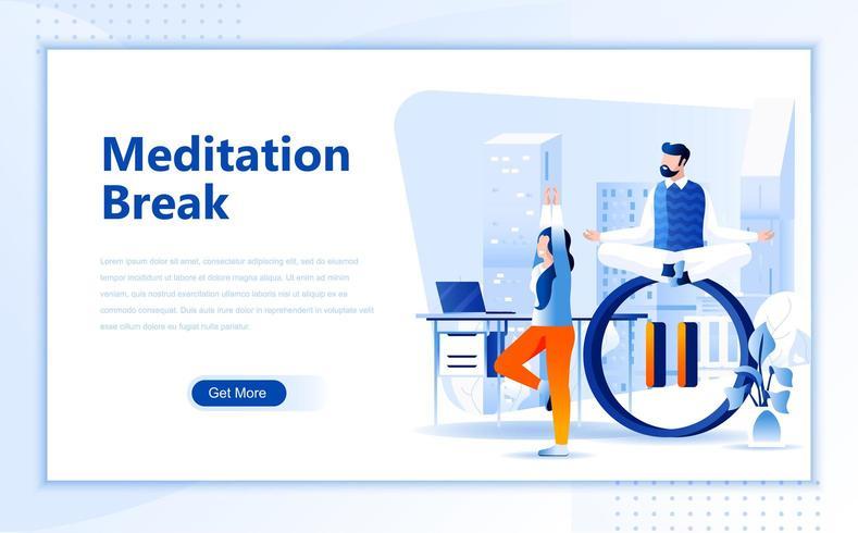 Plantilla de página de aterrizaje web plana de descanso de meditación vector