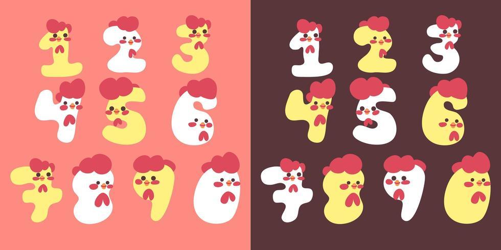 lindo conjunto de fuente de números de alfabeto de pollo vector