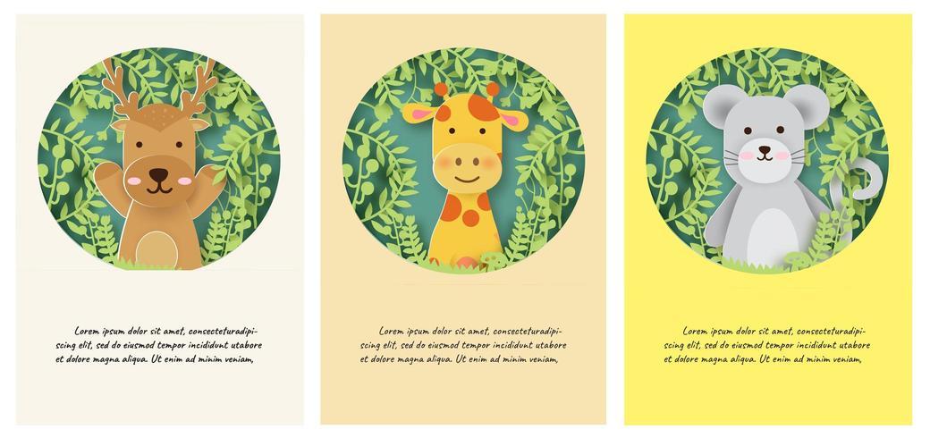 Conjunto de plantillas de tarjetas de animales