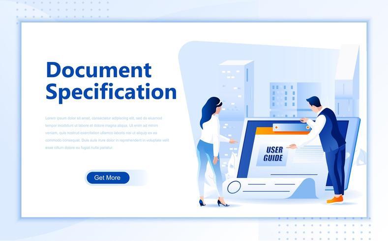 Modèle de page de destination Web plate de spécification de document
