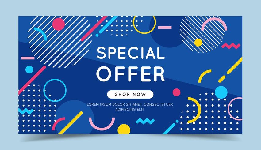 Special offer colorful banner with trendy abstract geometric elements  vector